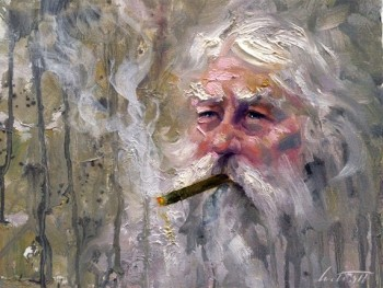 grey old man smoking