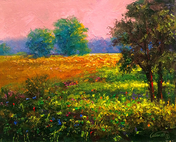 peach meadow landscape oil painting