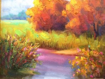 autumn creek purple water painting
