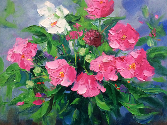 confederate roses oil painting