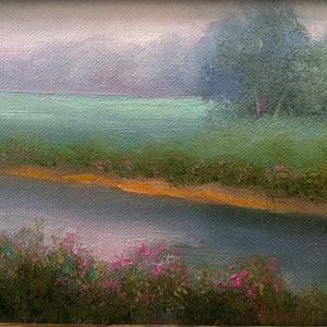 misty morning landscape painting