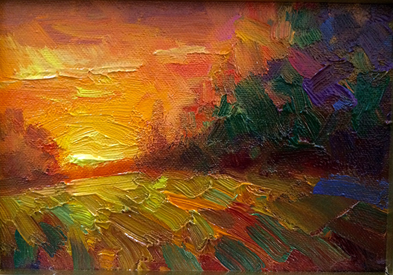 plein air bold light sunset