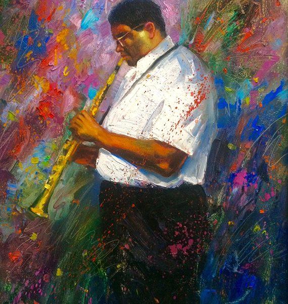 Jazzman Oil Painting 16x20