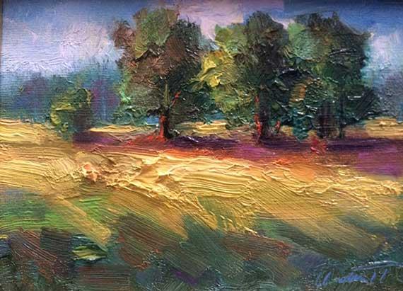 Three Trees Landscape Oil Painting