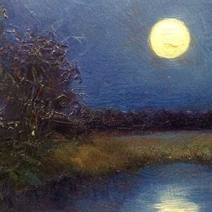 moonrise oil painting