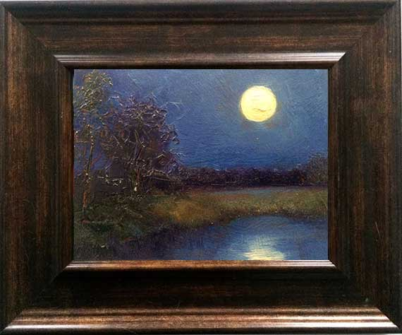 moonrise oil painting framed