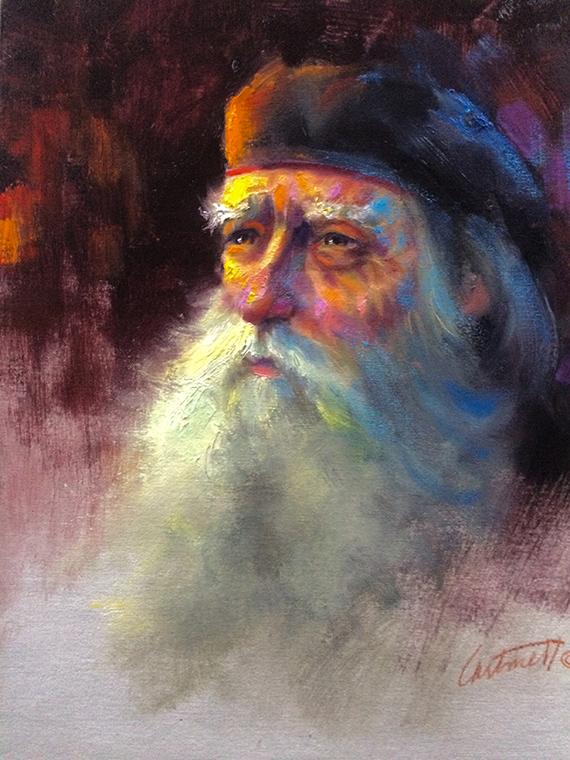Old Vet Oil Painting
