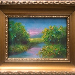 Peaceful Creek painting in goldleaf frame