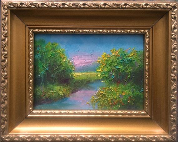 Peaceful Creek painting in goldleaf frame