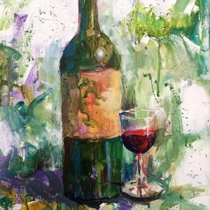 Loosely Uncorked Wine Still Life Painting