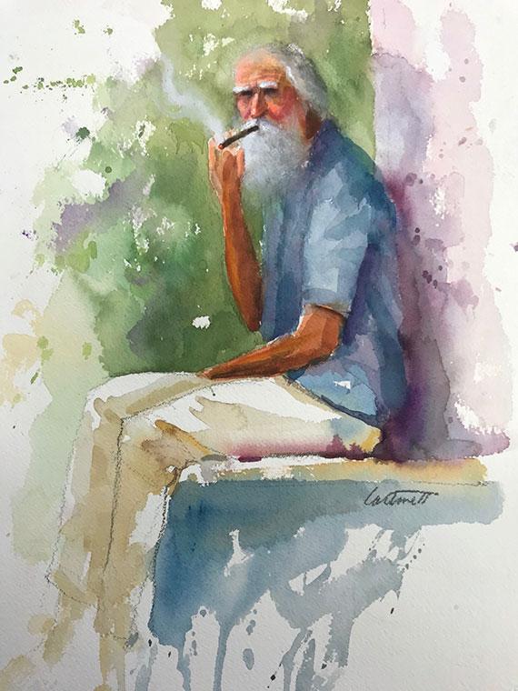 Old Cuban Man Smoking