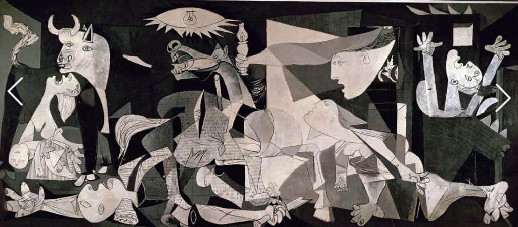 Picasso painting black and white