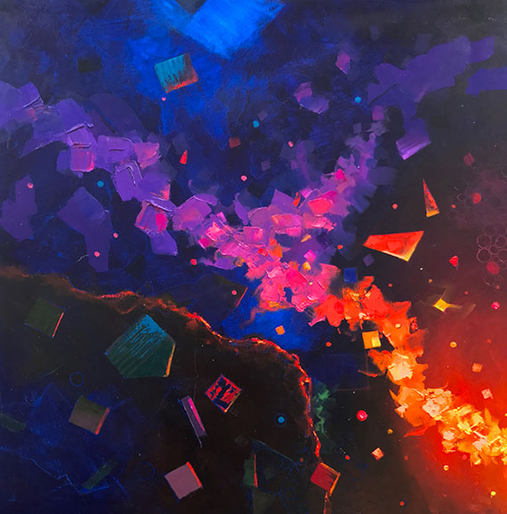 cosmic encounter abstract oil painting