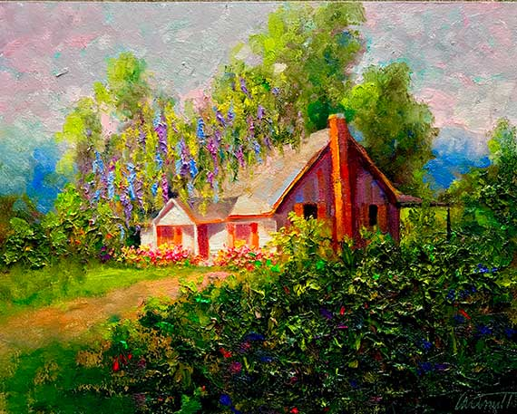 Spring Cottage Oil Painting