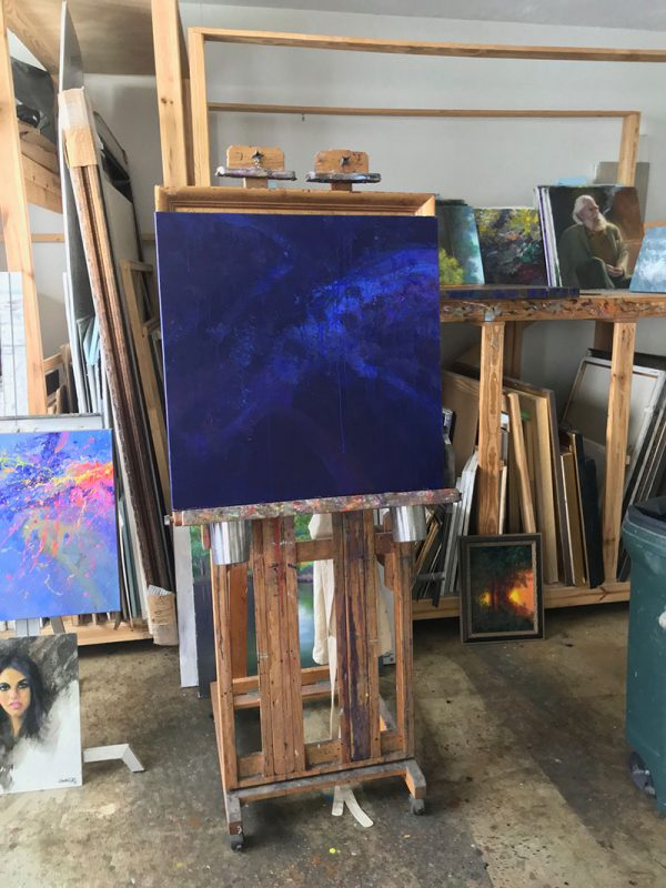 Case of the Blues on easel